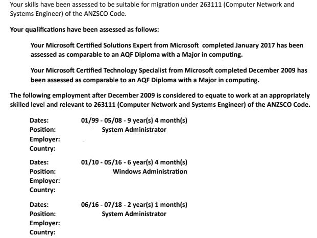 ACS - ACS skill assessment asking for RPL (263111