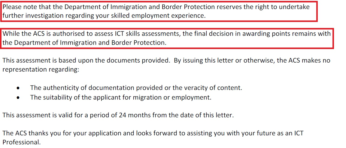 Received invitation after ACS assessment expired | Migration